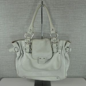 Linea Pelle Shoulder Bag in Light Grey/Blue